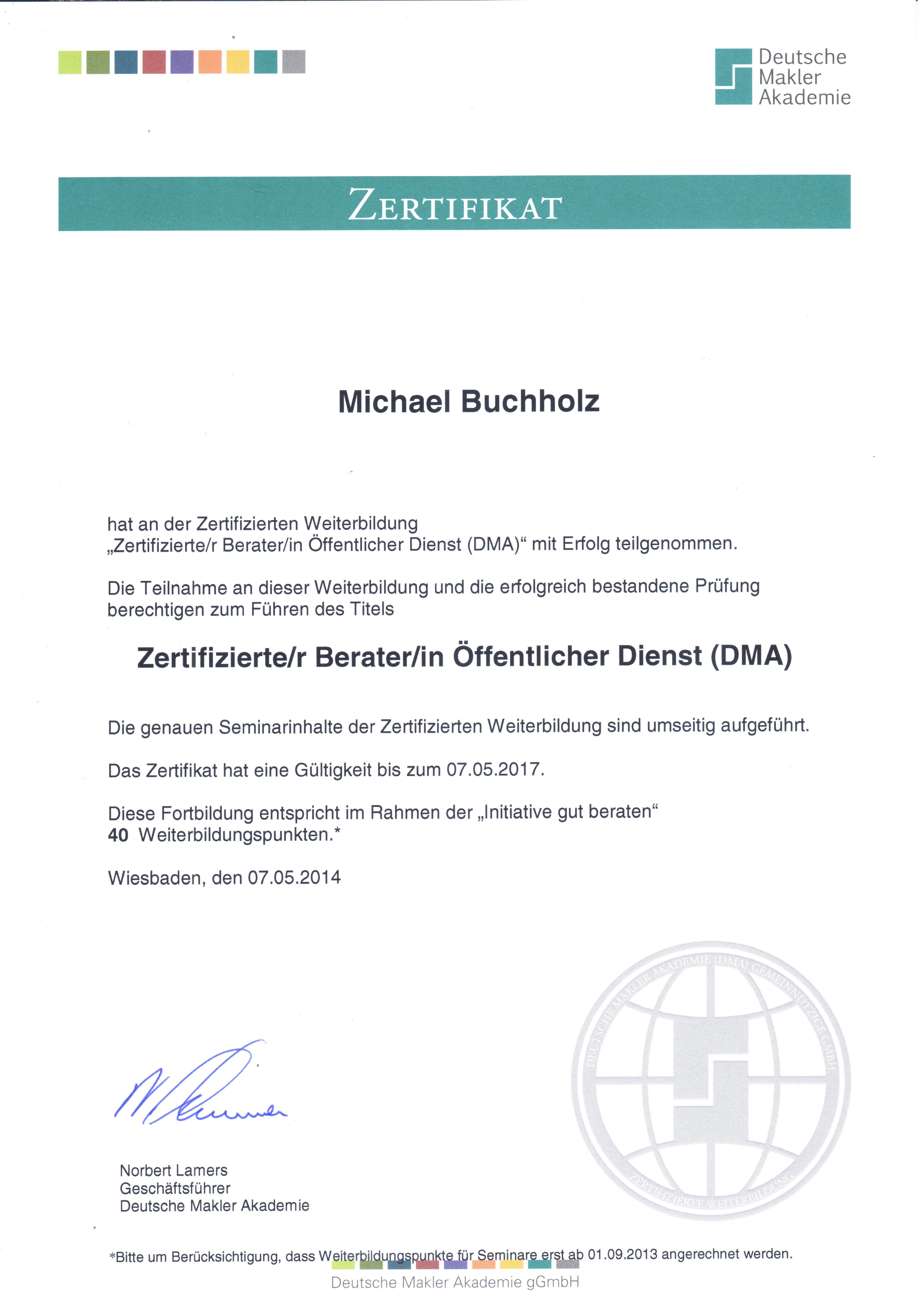 das DMA Zeugnis von Michael Buchholz, Beamtencircle